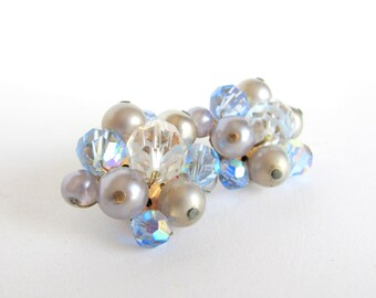 Something Blue No.82 - Vintage Crystal and Faux Pearl Earrings in Soft Blue And Gray