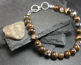 Boulder Opal Genuine Bracelet ~ 7.5 Inches  ~ 8mm Round Beads