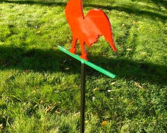 Metal Rooster Lawn Ornament, Metal Garden Stake, Outdoor Garden Art,  Chicken Garden Art