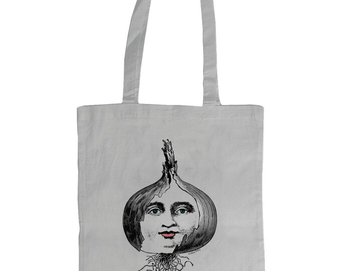 Layers Of An Onion. Illustrated Graphic Tote Bag. White.