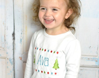 Baby girl Christmas outfit PERSONALIZED! Girls Christmas Tree Shirt, Baby girl christmas outfit,