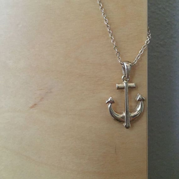 Anchor Charm Necklace | gold plated classic charm necklace with chain early 90s vintage minimalist nautical gift jewelry present