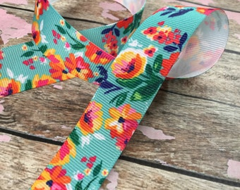 7/8 Grosgrain Ribbon in Bright Blooms Floral Print
