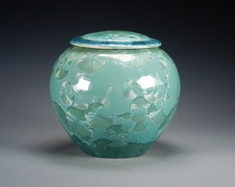 Ceramic Lidded Jar - Green - Crystalline Glaze on High-Fired Porcelain - Hand-Made Pottery - SHIPPING INCLUDED - #G-515