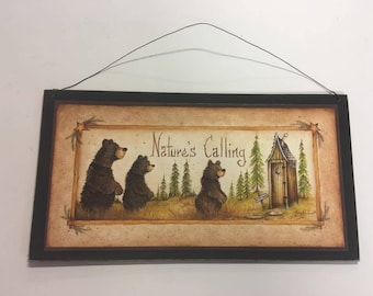 natures calling brown bears wooden outhouse bathroom decor wall sign wooden bath decor country