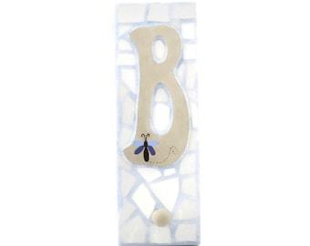 Mosaic Wall Hook - Letter B - Broken China - Peg Board - Coat Hanger - Personalized - Light Blue and Tan
