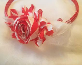 Little girls or toddler red and white headband