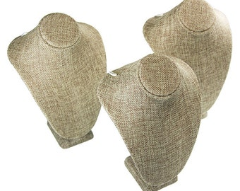 "Burlap Necklace Bust 5-1/4"" wide x 7-1/2"" high (Pack of 3)  (DCH3893)"