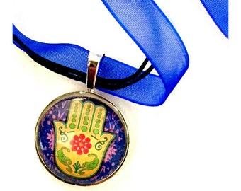 Hamsa Organza Ribbon Necklace, Hamsa Hand Ribbon Necklace, Royal Blue Hamsa Pendant, Hamsa Organza Ribbon Choker Necklace, Fatima Pendant