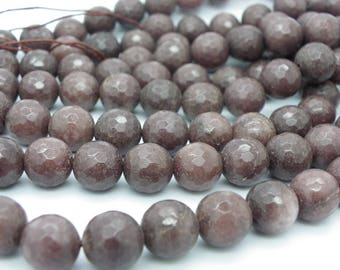 20 chocolate brown 10 mm faceted jade beads