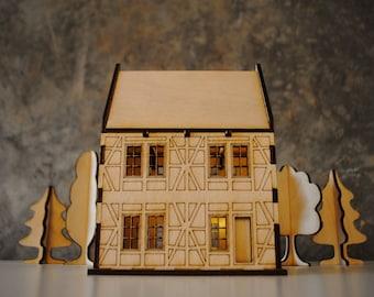 Bavaria wooden house template for laser cut / nightlight / building kit