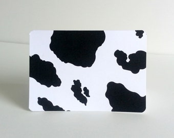Cow Print Note Card Set of 10 Black and White Cow Hide Patterned Cards Fashion Animal Print Cards Cow Stationery  Bovine Greeting Cards