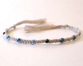 Braided Beach Bracelet with Glass Beads in Sea Colors