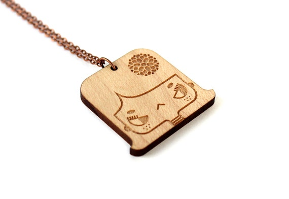Geek girl necklace - Lily - lasercut maple wooden pendant - hippie girl with flower - graphic jewelry - illustrated jewelry - jewellery