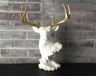 ANY COLOR Deer Head Bust Statue // Faux Taxidermy // Jewelry Hanger // Antler Decor // White Stag Head // Antler Jewelry Stand // Woodland