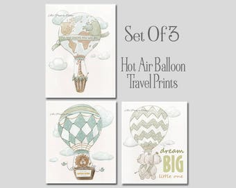 Little Traveler Adventure Wall Art, Set Of 3 Hot Air Balloon Nursery Prints, Personalized Custom Child's Name, Giraffe, Lion, Elephant
