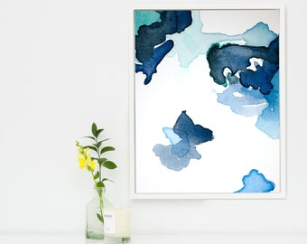 Large Abstract Art Print, Navy Blue Abstract Canvas Wall Decor, Painting Reproduction Print, Large Blue Canvas Painting Print Art Evo Giclee