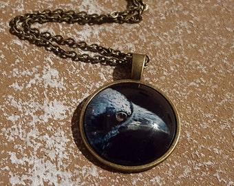 Raven you Black Crow pendant, necklace Gothic Halloween Jewelry