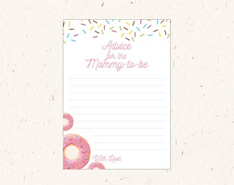 Advice for the Mommy to be, Baby Shower Activity, Sprinkles, Donut Party theme, instant download