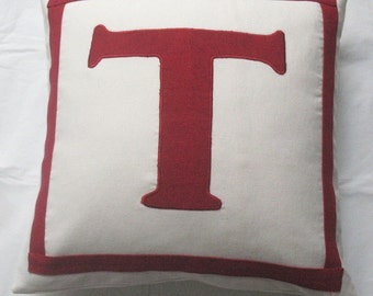 off white and dark red monogrammed pillow. letter pillow.  Initial pillow  Personalised cushion  covers. Custom  made 18 inch