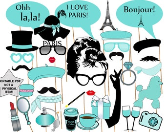"Breakfast at Tiffany's Photo Booth Props: ""PARIS PARTY PROPS"" Printable photo props,Audrey Hepburn,Bridal Shower props,Bachelorette Party"