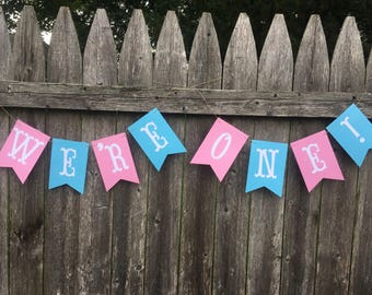 Twins high chair banner . We're One banner. Twins first birthday . Boy girl twins. Boy and girl twins first birthday.