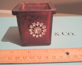 Red Glass Votive Candle Holders Set of 4 with Rhinestone Snowflake