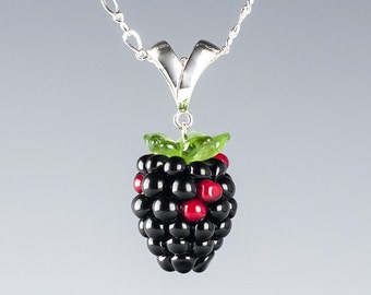 Glass Blackberry Necklace  Lampwork bead jewelry hand blown glass art Birthday gift, Mother's Day gift for gardener, cook