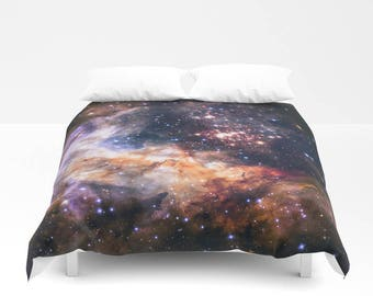 Duvet Cover, Galaxy Bedding Cover, Outer Space Bedroom Decor, Home Decor, Celestial Fireworks, King, Queen, Full