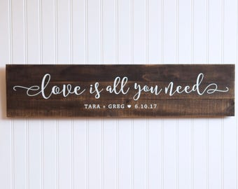Personalized Wedding Gift Sign, Love is All You Need Wood Sign, Beatles Lyrics Pallet Sign, Anniversary Gift, Farmhouse Decor, Wedding Song