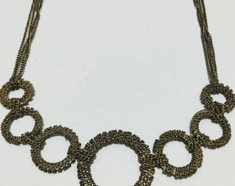Vintage Statement Bib Necklace with Chain Detail