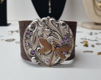 Art Nouveau Inspired Silver Gold Woman and Dragonfly Reycled Leather Belt Cuff with Lavender Rhinestones
