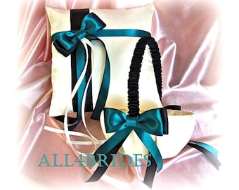 Teal and black wedding flower girl basket and ring bearer pillow, wedding decorations ring cushion and basket set