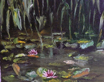 the pond and nenuphards painting has oil knife