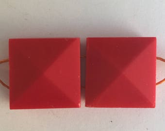RARE Vintage Nailheads - 17mm Square - RED
