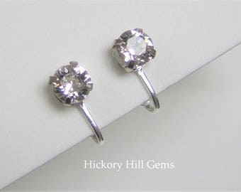Clip On Earrings Clear Crystal clip-on earrings SWAROVSKI Crystal white rhinestone clip earrings, SILVER, faceted stone clip ons