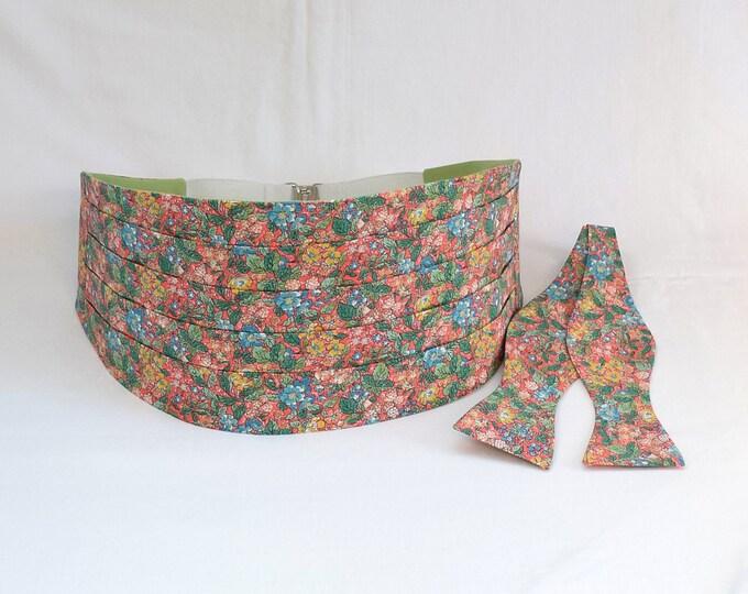 Men's Cummerbund & Bow Tie set, Liberty of London coral floral Prince George fabric, wedding party attire, tux accessory, groom formal wear,