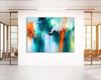 Originele XXXL abstract zonder rek schilderij 2 meter oversized abstract olieverfschilderij, acryl kleurrijk schilderij, donkere blauwgroene oranje