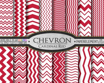 Cardinal Red Digital Paper Pack - Instant Download - Red Chevron Paper for Digital Scrapbooking