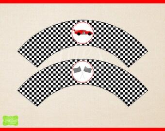Race Car Cupcake Wrappers - Printable Cupcake Wrapper - DIY Cupcake Wrappers - Race Car Party Printables - Racing Printables