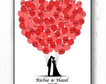 Wedding Guest Book Alternative, Personalized Guest Book, Wedding Guestbook Bride and Groom Silhouette, 100 Balloons - DIGITAL PRINTABLE JPEG