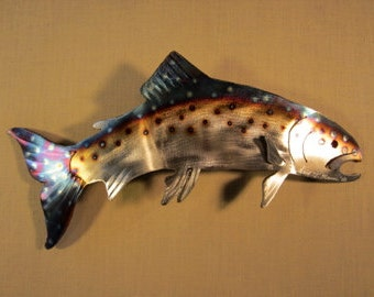 Trout Lake Rainbow Brown Fish Metal Fly Fishing Flyfishing Fisherman Steel River Stream Wall Art Home Cabin Decor Gifts For Him Fathers Day