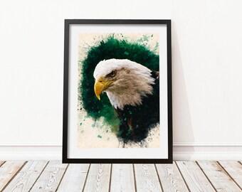 Eagle wall decor • Eagle printable • Eagle watercolor • Eagle print • Prints for room • Eagle drawing • Eagle poster •  Watercolor wall art