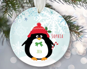 Personalized Penguin Christmas Ornament Penguin Ornament Christmas Gift Custom Ornament Holiday Gift Name & Date Choice of 6 penguins OR228
