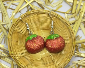 Glittery tomato polymer clay earrings