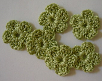 Lime Green Crocheted Flowers - Forget Me Nots - Cotton Flower Appliques - Crocheted Flower Appliques - Flower Embellishments - Set of 6