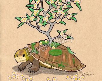 Eucalyptus Turtle A5 Print