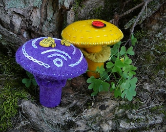Purple and Yellow Peg Doll Mushrooms, Felt toadstools, Waldorf Inspired, Peg Doll Fungi