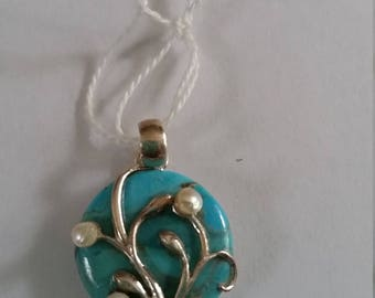 Turquoise and pearl sterling silver pendant