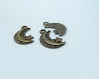 50pcs 8x16mm Antique Bronze Mini Moon And Star Charm Pendant  c2994